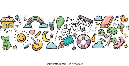 Doodle set of objects from a child's life, sketch elements. Sweets, toys, bicycle, rollers, rainbow, sun and other elements  for you design. Seamless pattern background. Vector illustration