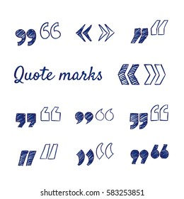 Doodle set of quote marks - quotes icon set, hand-drawn. Vector sketch illustration isolated over white background.