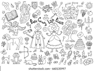 Doodle set with royal prince and princess concept and accessories. Children's drawings. Graphic vector illustrations, sketch with vintage design elements