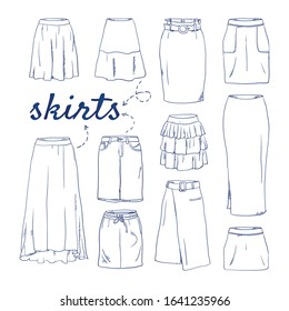 Doodle set of Skirt Collection – Layered, Paneled, Assymetrical, Trumpet, Pegged, Tulle, Ruffled, Godet,  Bubble, Tulip, Knife pleated, Draped, Gypsy, Accordion, Ruffled, hand-drawn. sketch illustrati