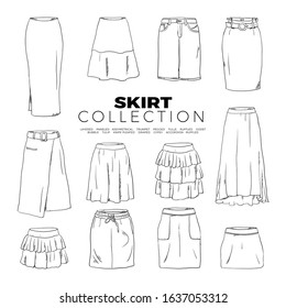 Doodle set of Skirt Collection– Layered, Paneled, Assymetrical, Trumpet, Pegged, Tulle, Ruffled, Godet, Bubble, Tulip, Knife pleated, Draped, Gypsy, Accordion, Ruffled, hand-drawn. Vector illustration