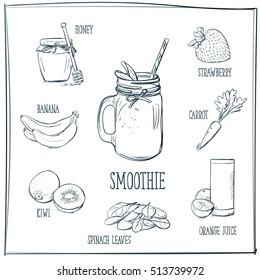 Doodle set of smoothie - honey, banana, strawberry, kiwi, carrot, spinach leaves, orange juice, glass, hand-drawn. Vector sketch illustration isolated over white background.