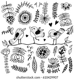 Doodle set of spring flowers, herbs and birds. Hand drawn vector illustration with floral elements. Nature sketch background for prints, T-shirt.