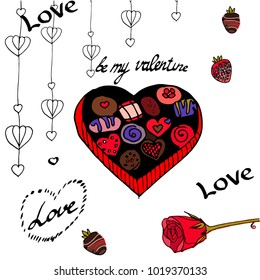 Doodle set for St. Valentine's Day: rose,  box of chocolates, strawberry in chocolate.