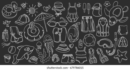 Doodle set of swimming goods for kids. Vector icons Illustration on black background. Sketch. Vest, mask, tube, swimsuit, cap, panama, fins, swimming trunks. Summer children's holiday at sea