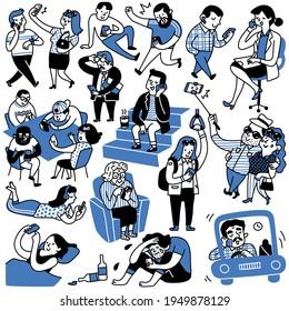 Un jeu de gribouillis de différentes personnes utilisant le smartphone de plusieurs manières, multi-ethnique, groupe, hommes et femmes, adultes et adolescents. Dessin dessiné à la main, caractère mignon et drôle.