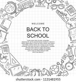 doodle set vector back to school
