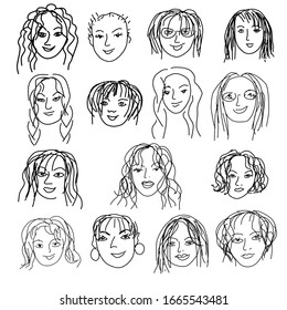Doodle set with women faces. International Women's Day. Feminism concept design.15 cartoon female faces isolated on a white background. Vector illustration for card, poster, modern design.