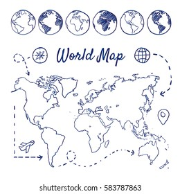 Doodle set of world map - globes, airplane, compass, route, destination, hand-drawn. Vector sketch illustration isolated over white background.