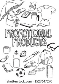 doodle of several promotional products