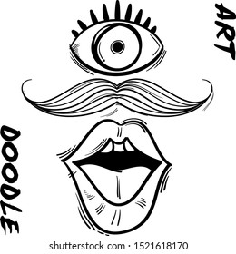 doodle with the shape of body parts that resemble the eyes of the mouth