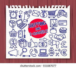 Doodle Shopping Ecommerce icons set. Sale, retail, internet shop concept. Hand drawn symbols. Graphic elements for web site, corporate printable, educational poster, infogrpahics. Vector illustration