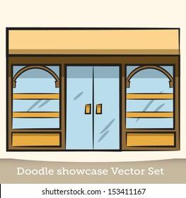 Doodle showcase vector set