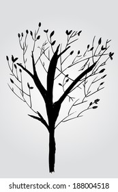doodle silhouette of tree