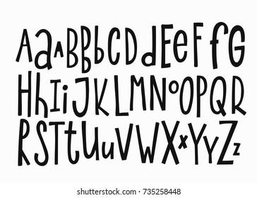 Doodle simple primitive kids alphabet, vector hand drawn letters elements. For kids books, posters, postcard typography