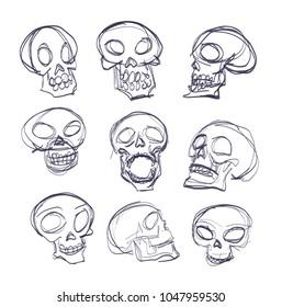 doodle skeleton, vector sketch