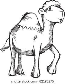 Doodle Sketch Camel Vector Illustration