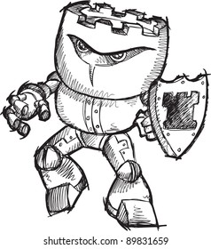 Doodle Sketch Cyborg Robot Chess Rook Warrior Vector Art Drawing Illustration