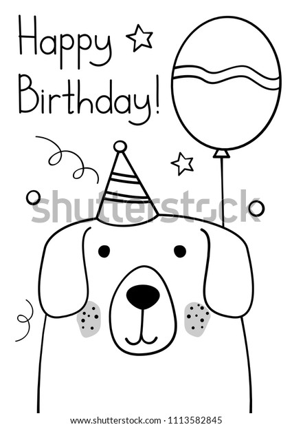 Doodle Sketch Dog Happy Birthday Greeting Stock Vector Royalty Free 1113582845