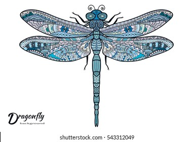Doodle sketch dragonfly. Stylized animal insect for tattoo, t-shirt, poster, invitation card, textile or paper print. Zen doodle Art. Isolated design element, ethnic totem, hand drawn colorful pattern