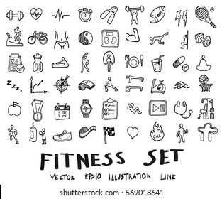 Doodle sketch fitness icons Illustration