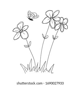 doodle sketch hand draw flowers vector