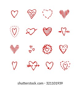 Doodle, sketch.  Heart. Love. Set of hand-drawn hearts red pen. Vector.