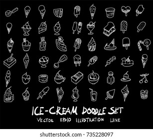 Doodle sketch ice cream icons Illustration vector on black