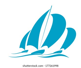 Doodle sketch logo of ocean yachting in a yacht with several sails racing over the surface of the water in blue on white