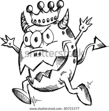 doodle sketch monster king vector illustration stock vector royalty