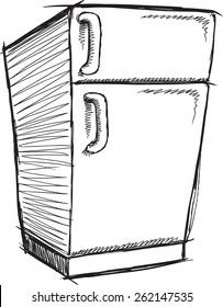 Doodle Sketch Refrigerator Vector Illustration Art
