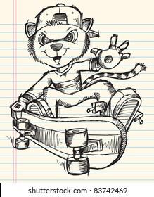 Doodle Sketch Skateboarding Cat Notebook Vector Art Illustration