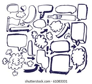 Doodle Sketch Speech Bubble Arrow Vector Illustration Set