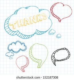 Doodle sketch speech bubble set for school design