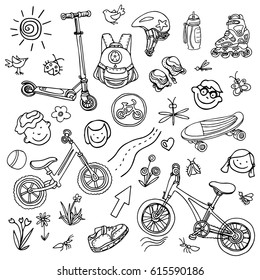 Doodle sketch sporting goods for kids. Vector icons Illustration. Set. Scooter, rollers, skate, bicycle, sneakers, backpack, helmet, sun, flower, road, child, park, water. Summer children's holiday
