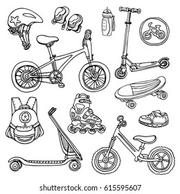 Doodle sketch sporting goods for kids. Vector icons Illustration. Set. Scooter, rollers, skate, bicycle, sneakers, backpack, helmet, water. Summer children's holiday