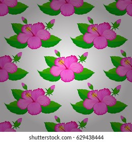 Doodle sketch style, hand-drawn illustration. Vector seamless floral pattern with hibiscus flowers, leaves, decorative elements, splash, blots and drop on a white background.