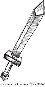 Doodle Sketch Sword Vector Illustration Art
