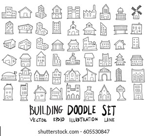 Doodle sketch type of building icons vector Illustration