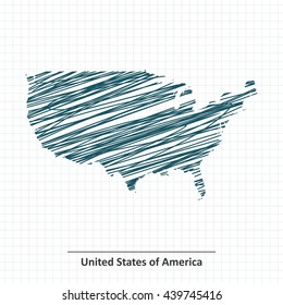 Doodle sketch of United States of America map - vector