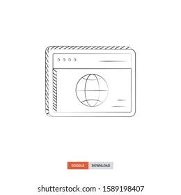 Doodle sketch of Web browser concept on white background. Web browser doodle art. Cartoon vector illustration. Isolated sketch line art. Icon in hand drawing design style.