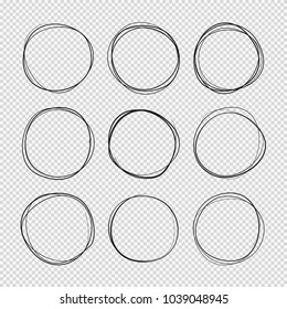 Doodle sketched circles. Hand drawn scribble rings isolated vector set. Doodle circle ring scribble and sketch, circular and round scratch stroke illustration