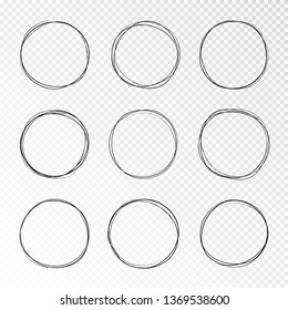 Doodle sketched circles. Hand drawn scribble isolated rings. Black pencil drawing set objects on transparent background. Hand drawn abstract grunge elements. Vector abstract ellipsses for design use.