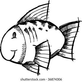Doodle Sketchy fish Vector Illustration