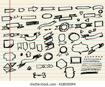 Doodle sketchy Hand drawn sketch hand drawn elemental of Banners.Vector illustration