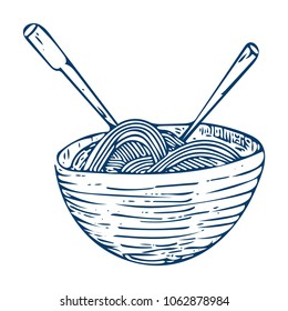 Doodle Sketchy Illustration: Hand drawn Chinese style noodle bowl with sticks isolated. Doodle Noodle Bowl Sketch etching Icon.