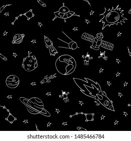 Doodle sky dark seamless pettern. Hand drawn space objects on black background. Vector illustration.