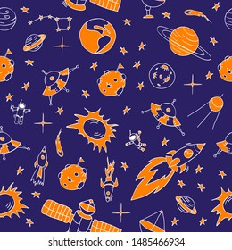 Doodle sky seamless pettern. Hand drawn space objects with orange elements on blue background. Vector illustration.