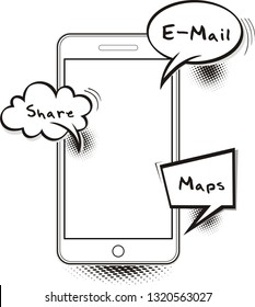 Doodle Smartphone screen with comic bubble speech