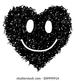 doodle smile face heart shaped hand drawn on white background